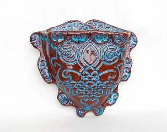Turquoise and Rust Earthenware Wall Pocket