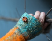 Felted fingerless gloves Wool mittens Felt arm warmers in fire orange and teal turquoise blue Woolen hand warmers with button Made to order