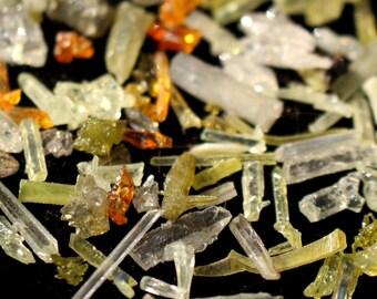 Raw Zincite Crystals from Poland 1 gram - Orange Zincite - Green Zincite - Yellow Zincite - Clear Zincite