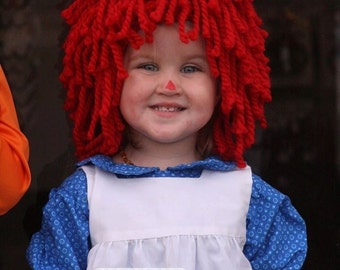 Any Size Crocheted Red Yarn Wig Handmade with Fat Quality Red Yarn, Inspired by Raggedy Ann Raggedy Andy