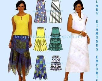 Simplicity 7227 Womens Skirts 6 Looks size 4 6 8 10 OR 12 14 16 18 A-line Ruffled Flounce Gypsy Bandana Easy Plus Size Sewing Pattern Uncut