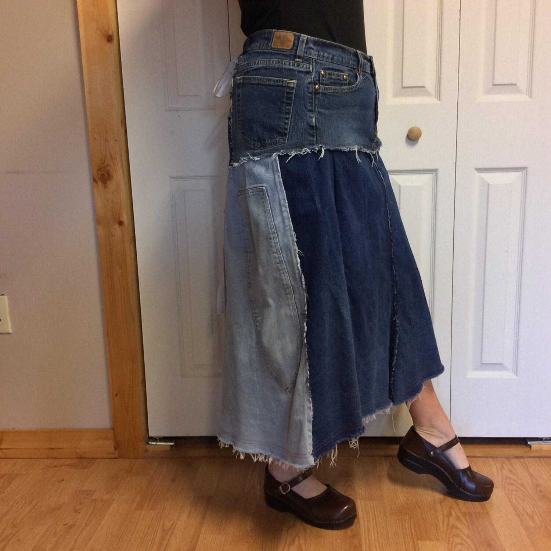 blue jean plus size denim skirt aline stretch by sewsomer
