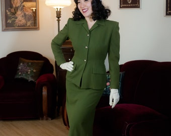 Vintage 1940s Suit - Beautiful Moss Green Tailored Wool Suit with Silver Leaf Buttons and Hip Pockets