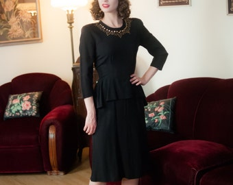 Vintage 1940s Dress - Wicked Black Rayon Crepe Gold Studded 40s Cocktail Dress with Fluttering Peplum