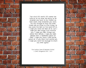 F Scott Fitzgerald Printable Quote 'It's Never Too Late' Benjamin Button Instant Download Inspirational Print Hand Typed Life Poster