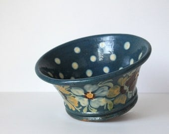 Rustic French Country Pottery Bowl, Polka Dot and Floral Pattern, Alsace Region Pottery, Made in France