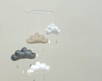"Nursery cloud mobile with star ""SASHA"" by The Butter Flying-Rain Cloud Mobile Nursery Children Decor"