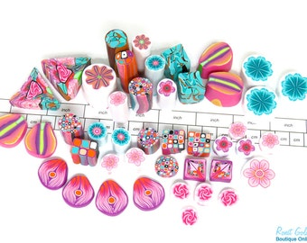 Cane ends - Simply Pink - Polymer Clay unbaked & raw cane ends and slices , Fimo millefiori canes by Ronit Golan - AE