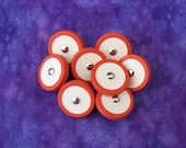 Retro Mod Plastic Buttons 15mm - 5/8 inch Red Orange Ring-Around with Chalk White Centers - 8 VTG NOS Two Tone Pin Shank Buttons PL340