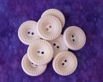 Carved Floral Buttons, 21mm 3/4 inch - Spirograph Inspired Retro Mod Flower Buttons - 8 VTG NOS Warm White Plastic Sewing Buttons PL188