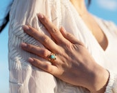 stacking rings, brass, turquoise, hematite, arch, thin bands, open ring, sunburst, pear, trio // GOBI STACK