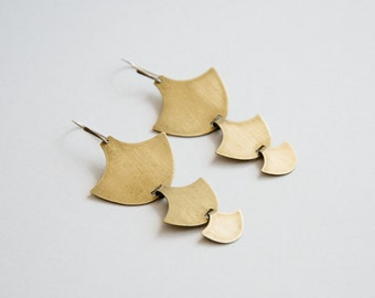 Lore Solid Earrings - Brass Leaf, Anchor Shapes