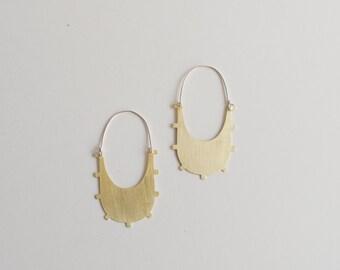 Azur Earrings - Geometric, Aztec, Tribal Brass Hoops
