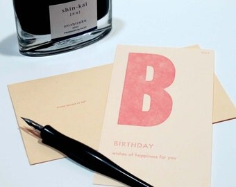 birthday - letterpress printed flashcard notecard
