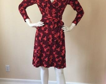Vintage 1990's Diane Von Furstenberg Butterfly Print Wrap Dress 100% silk