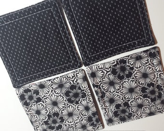 Fabric Drink Coaster Set - Reversible - Black and white, all cotton, large size