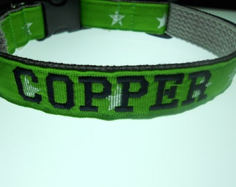 Personalized Embroidered Dog Collar - Ribbon with Silver Stars Your Choice of Color