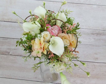 Pink Rustic Wedding Bouquet, Ready to Ship...SALE PRICED