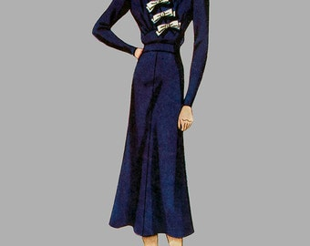 RARE 1930s A line Dress pattern Simplicity 2473 Puffed short sleeves, High front waist, Assymetrical front bodice, Bust 40