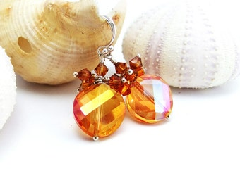 Amber Faceted Glass Bead Drop Earrings Handmade Sterling Silver Wires Swarovski Bicones Clusterer ear wires iridescent