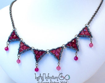 Starburst Galaxy Pennant Necklace in Pink and Dark Gray