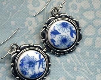 Floral Earrings, Vintage Cabs Earrings, 925 silver Earrings, Blue  White floral Earrings , petite earrings handmade jewelry by annaart72