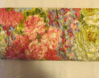 RARE Vintage Fabric Floral Purse Clutch Bag Mad Men Style Quilted Handbag Metal Frame Clasp 1950s 50s Purse LilagidChange Purse Mirror