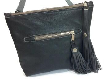 Grey Leather Bag, Cross-Body Bag,Leather Bag, X-body Travel,Shoulder Bag,Hip Bag,Everyday Bag,Multi-Use Bag,Adjustable Bag,Messenger Bag