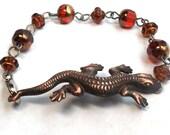 Rusty Copper Black Matte Fiery Salamander OOAK Red Czech Glass Chain Bead Link Bracelet