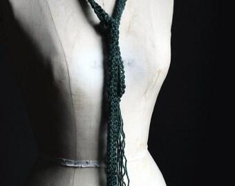 "Rustic Boho Chic Super Skinny Ribbon Fringe Crochet Forest Green Wrap Scarf. ""Evergreen""."