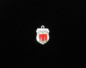 Böblingen, Germany Town Coat of Arms- Travel Shield Charm, 800 Silver Pendant, Vintage Enamel Charm, Sterling Silver, Boblingen Charm