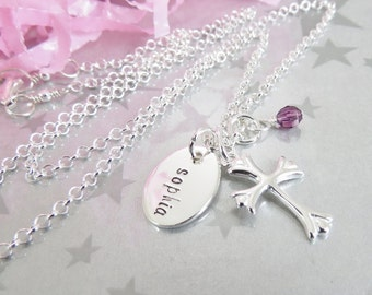 First Communion - Hand Stamped Necklace - Holy Communion - Confirmation Necklace - Sterling Silver - Baptism Pendant - Hand stamped Jewelry