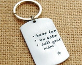 Personalized Sweet 16 Keychain - Graduation Gift - Have Fun Be Safe Call Your Mom Keychain - Son Keychain - Daughter Keychain