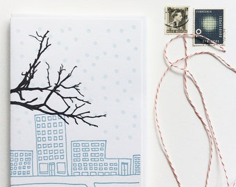 Urban Winter Letterpress Holiday and New Years Cards