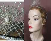 1950s Silver and Rhinestone Wire Moderne Tiara