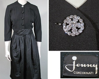 1950s Vintage Dinner Dress in Black Crepe and Faille from Jenny Sz S - M
