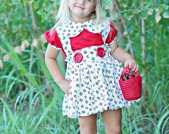 Retro Vintage Style Cherry Outfit Peter Pan Collar blouse with Suspender skirt babies, toddlers, girls sizes 6/12m up to girls