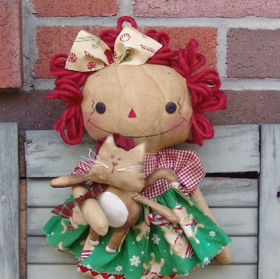 Primitive Christmas Raggedy with Kitty Pattern, cloth doll pattern, raggedy doll pattern, cat pattern, Christmas decor pattern, HFTH185