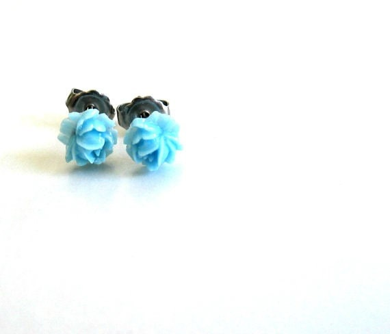 Tiny Titanium Earring Posts - Vintage Style Blue Rose Earrings - Contains No Nickle - Great For Sensitive Ears