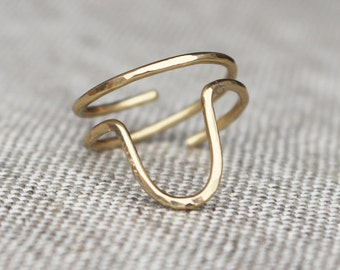 Brass U Ring, Wire Jewelry