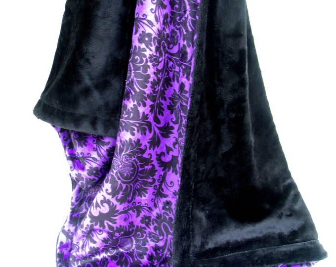 Minky Baby Blanket in Smooth Black with Purple and Black Damask for baby girl - available