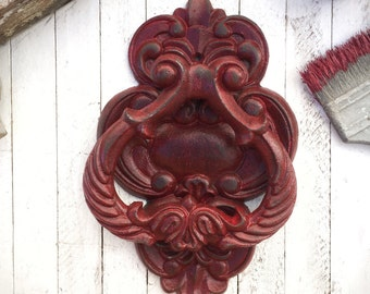 Extra Large Cast Iron Door Knocker, Red Home Decor, Ornate Decor, Large Door Knocker, New Home, Salvage Home Decor