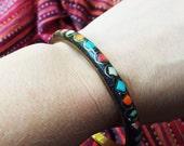 Brass Indian Bangle Bracelet with Semiprecious Stones