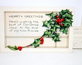"""Vintage Christmas Postcard, Vintage Postcard, Red Berries, Green Holly, """"Hearty Greetings"""" by Whitney Made 1920"""