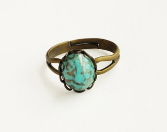 Small Turquoise Ring Vintage Turquoise Glass Ring Vintage Cabochon Teal Ring Adjustable Ring Eco-Friendly Turquoise Jewelry