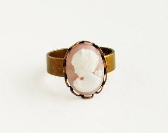 Pink Cameo Ring Small Vintage Cameo Ring Adjustable Ring Victorian Cameo Jewelry Antique Brass Light Pink Matte Ring