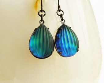Aurora Borealis Earrings Iridescent Glass Dangles Vintage Teardrop Earrings Blue Green Iridescent Jewelry Matte Glass
