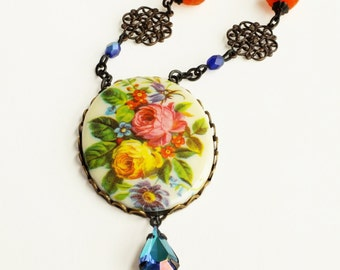 Colorful Floral Cameo Necklace Orange Blue Vintage Rose Pendant Necklace Victorian Flower Statement Jewelry