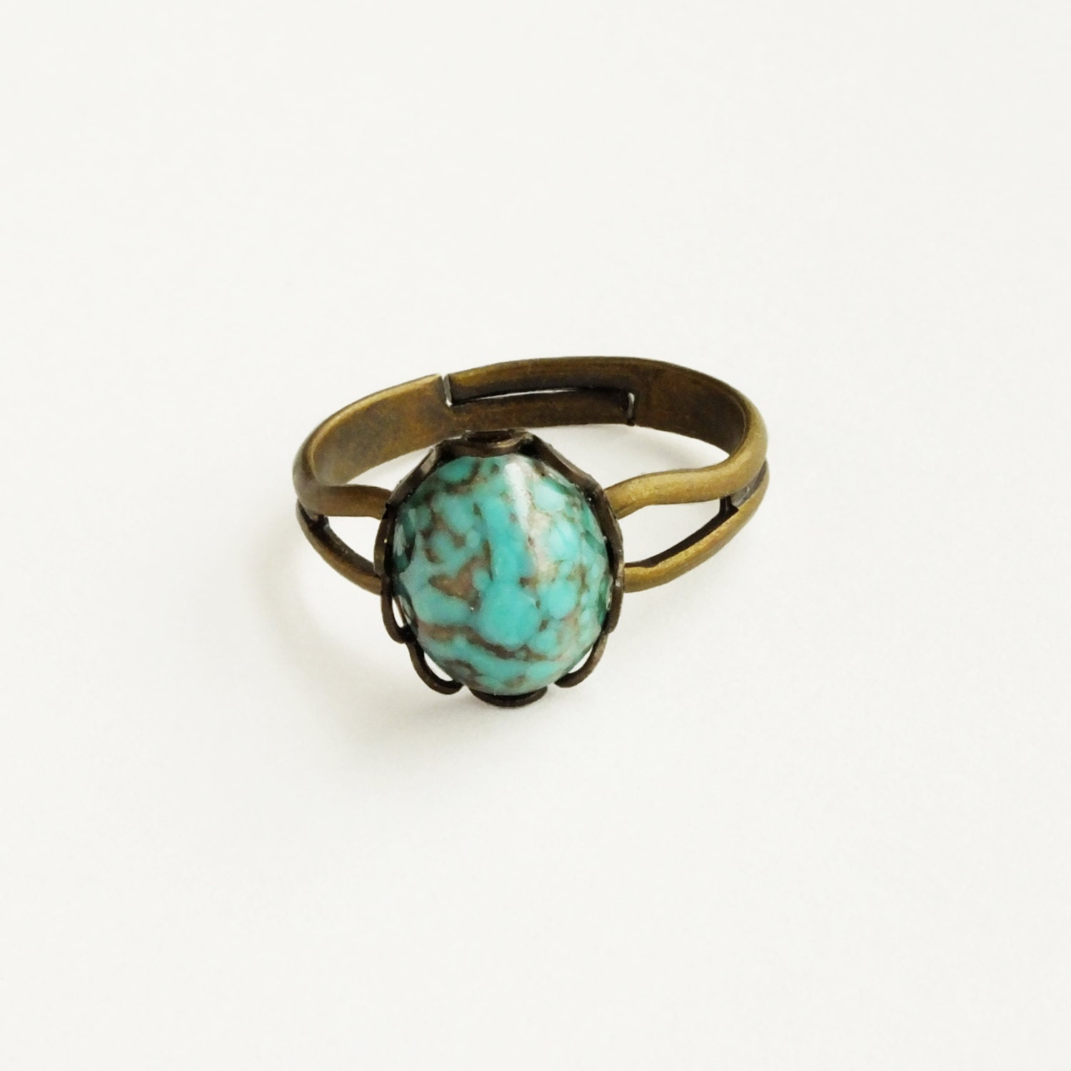 small turquoise ring vintage turquoise glass ring vintage