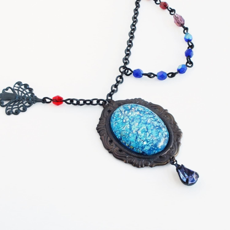 Aquamarine Necklaces: Aqua Opal Necklace Aquamarine Glass Necklace Blue Opal Pendant